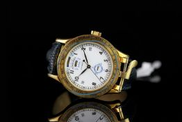 GENTLEMEN'S LONGINES 18K EPHEMERIDES SOLAIRES 5234, round , white dial with black hands, black