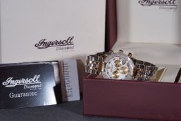 GENTLEMENS INGERSOLL DIAMOND CHRONOGRAPH WRISTWATCH W/ BOX & PAPERS, circular triple register silver