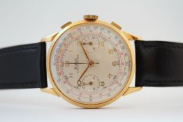 VINTAGE 18ct DOXA CHRONOGRAPH, circualr dial with two subsidary dials, Arabic numeral hour