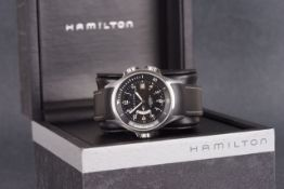 GENTLEMENS HAMILTON KHAKI AUTOMATIC GMT WRISTWATCH W/ BOX, circular black dial with cream arabic