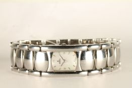 LADIES EBEL BELUGA DIAMOND DOT DIAL WRISTWATCH, rounded square mother of pearl dial with silver