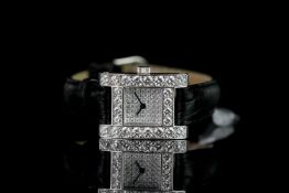 LADIES CHOPARD DIAMOND SET H WRISTWATCH REF 493 1, square pave set diamond dial, diamond set bezel