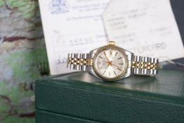 LADIES ROLEX OYSTER PERPETUAL DATE STEEL & GOLD WRISTWATCH W/ BOX & RECEIPTS REF. 6917, circular