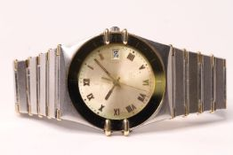 GENTLEMENS OMEGA CONSTELLATION CHRONOMETRE REF 1392/012, circular silver dial with roman numerals,