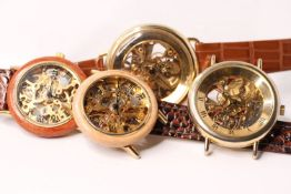 GROUP OF 4 SKELETONISED HAND WINDING WATCHES,