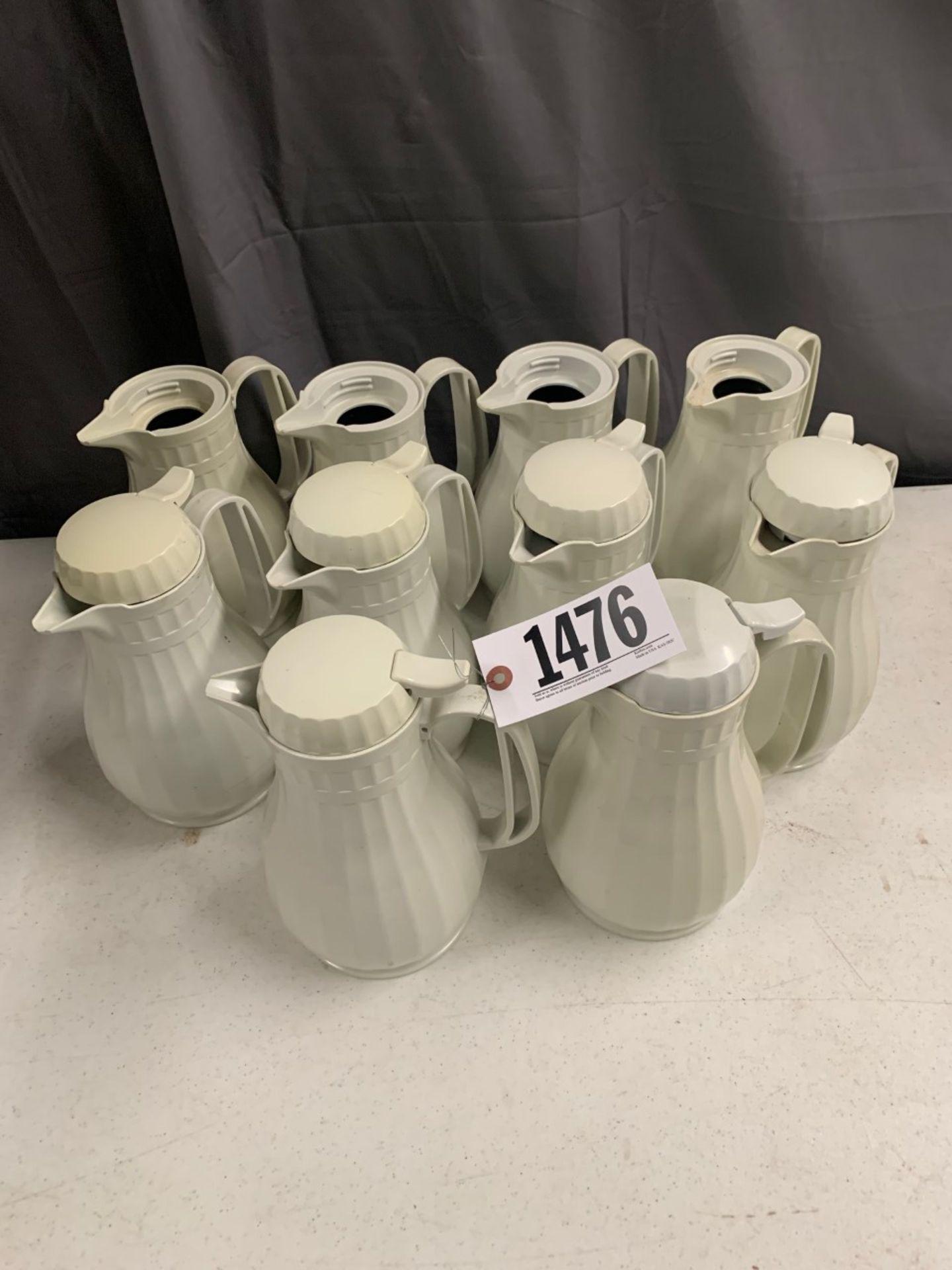 Lot 1476 - 10 pcs white coffee pots, 4 no lids