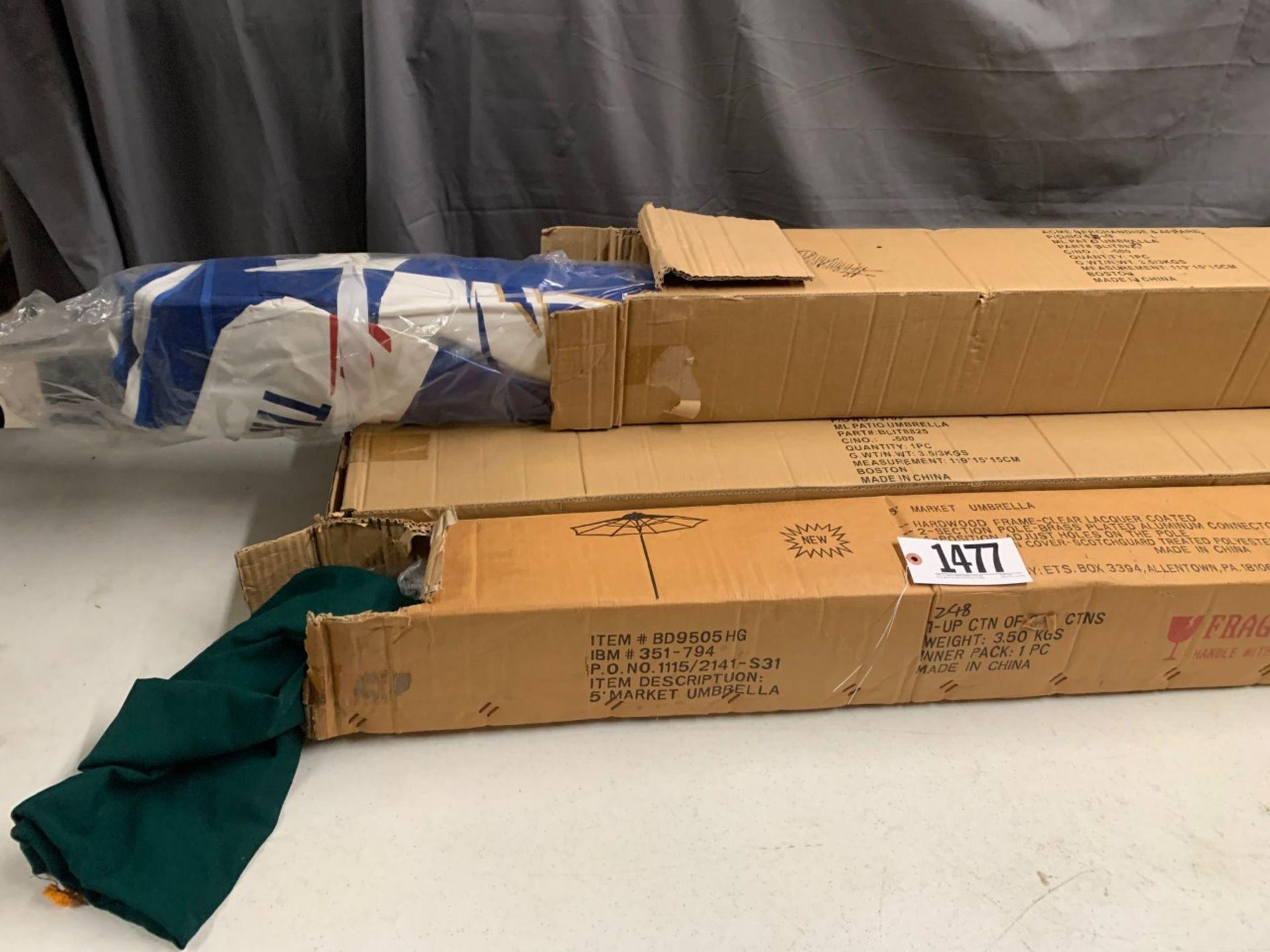 Lot 1477 - market umbrellas 3 Miller 1 Green new in box