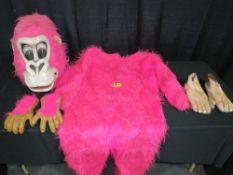 Mascot Style Pink Gorilla Costume - Pinky the Friendly Gorilla