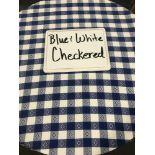"90"" Round Blue & White Checkered Umbrella Tablecloths"
