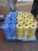 1 x pallet of Polythene thick bags - rolls of 300 bags, 620x920- 10 x blue rolls, 15 x yellow rolls