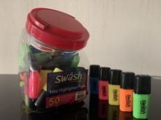 6 X TUBS OF ASSORTED SWASH MINI HIGHLIGHTER PENS IN VARIOUS COLOURS