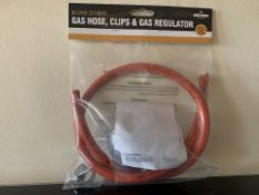 24 X BRAND NEW BOXED MILESTONE CAMPING BUTANE 28MBAR GAS HOSE, CLIPS AND GAS REGULATORS IN 2 BOXES