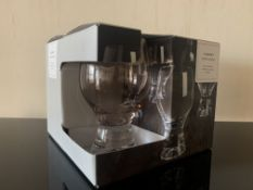 2 X BRAND NEW BOXES OF 4 CRYSTAL GLASS CHUNKY WINE GLASSES RRP £25 EACH ( 340ML )