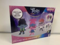 24 X BRAND NEW BOXED TROLLS MELTUMS PICTURE BEAD CREATIONS 3000 BEAD SETS IN 2 BOXES