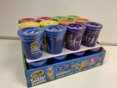 48 X BRAND NEW CRAYOLA SILLY SCENTS 50Z DOUGH TUBS IN DISPLAY BOXES