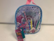 24 X BRAND NEW TROLLS ACTIVITY CARRY CASES WITH ACTIVITY BOOK, STICKERS, MARKERS, PENCIL, SHARPENER,