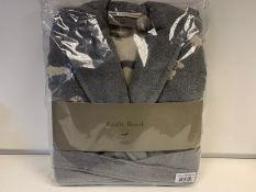4 X BRAND NEW EMILY BOND GREY COLOURED BATH ROBES SIZE LARGE - EXTRA LARGE WITH DACHSHUND DETAIL