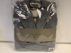 4 X BRAND NEW EMILY BOND GREY COLOURED BATH ROBES SIZE SMALL - MEDIUM WITH DACHSHUND DETAIL