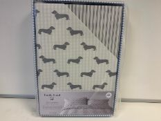 5 X BRAND NEW EMILY BOND GREY COLOURED KING SIZE DUVET SET WITH DACHSHUND DETAIL