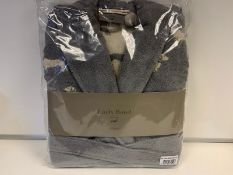 3 X BRAND NEW EMILY BOND GREY COLOURED BATH ROBES SIZE SMALL - MEDIUM WITH DACHSHUND DETAIL