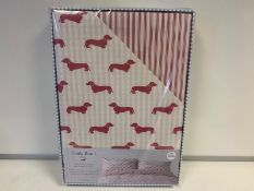 4 X BRAND NEW EMILY BOND PINK COLOURED KING SIZE DUVET SETS WITH DACHSHUND DETAIL