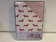 4 X BRAND NEW EMILY BOND KING SIZE RED COLOURED DUVET SET WITH DACHSHUND DETAIL