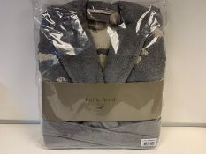 5 X BRAND NEW EMILY BOND GREY COLOURED BATH ROBES SIZE LARGE - EXTRA LARGE WITH DACHSHUND DETAIL