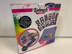 24 x BRAND NEW BOXED AIRBRUSH TATTOO SET. INCLUDES BATTERY OPERATED AIRBRUSH SPRAYER. CONTAINS 10