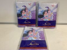 96 x BRAND NEW PACKAGED DISNEY ALADDIN SEQUIN NOTEBOOK. RRP £8.99 EACH