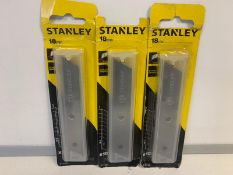 12 X BRAND NEW PACKS OF 10 18MM STANLEY REPLACEMENT BLADES