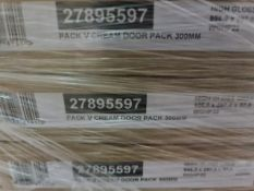 (A7) PALLET TO CONTAIN 54 x NEW HIGH GLOSS CREAM DOOR PACKS 300MM