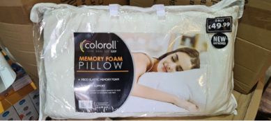 PALLET CONTAINING 70 COLOROLL MEMORY FOAM PILLOWS. PRICE MARKED AT £49.99 EACH. NOTE: ALTHOUGH