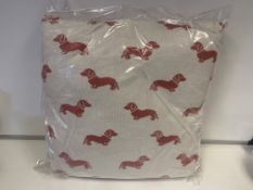 5 X BRAND NEW EMILY BOND DACHSHUND CUSHIONS RED RRP £30 EACH