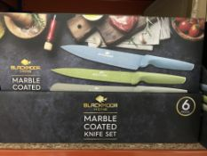 BRAND NEW BLACKMOOR HOME 6 PIECE MARBLE COATED KNIFE SET