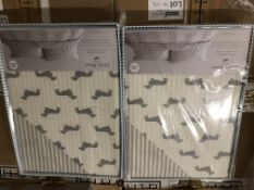 BRAND NEW EMILY BOND DOUBLE DUVET COVER SET WITH DACHSHUND DETAIL COLOUR GREY