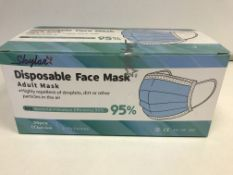 3 X BOXES OF 50 ADULT 3 PLY DISPOSABLE FACE MASKS