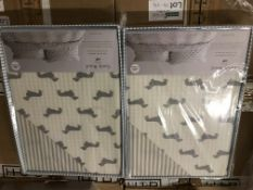 BRAND NEW EMILY BOND KING SIZE DUVET COVER SETWITH DACHSHUND DETAIL COLOUR GREY