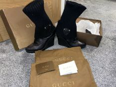 Genuine Gucci Black Knit Wedge Boots UK 6 Womens