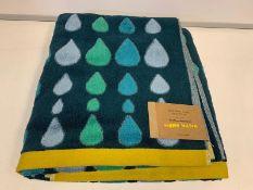 10 X BRAND NEW BOXED DONNA WILSON RAIN DROPS MULTI GREEN BATH SHEET TOWELS 100 X 150CM RRP £36 EACH