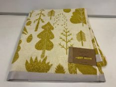 10 X BRAND NEW BOXED DONNA WILSON BIRD AND TREE MUSTARD BATH SHEET TOWELS 100 X 150CM RRP £36 EACH