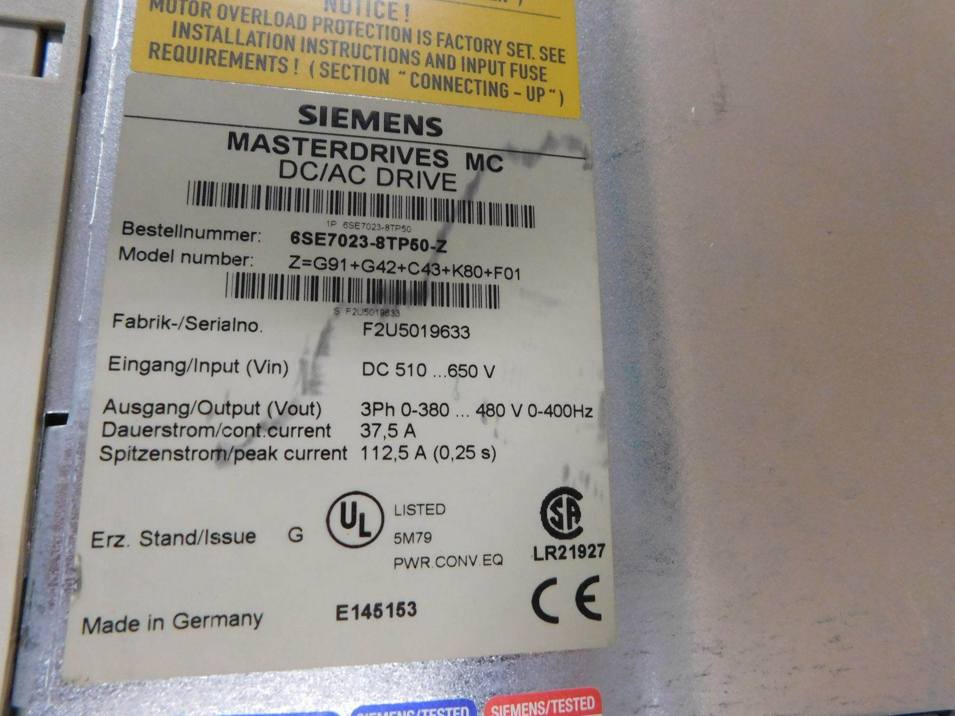 SIEMENS MASTERDRIVES MC DC/AC DRIVE - Image 3 of 5