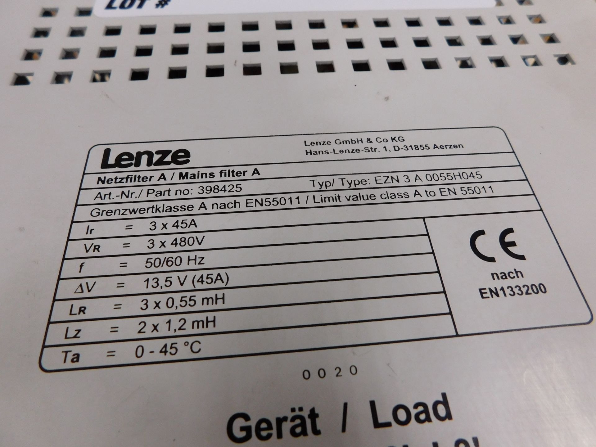 LENZE MAINS FILTER A - Image 3 of 3