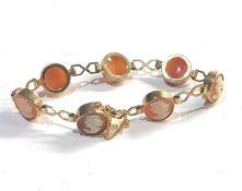 Vintage 9ct gold cameo bracelet weight 14g