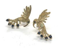 9ct gold sapphire bird earring
