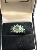 18ct Gold enamel diamond ring, ring size approx n/o, good overall condition