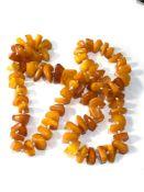Antique egg yolk amber piece bead necklace 55g