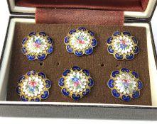 Antique set of enamel buttons floral enamel design each measure approx 2cm dia in good condition