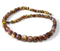 Antique foil bead opalescent glass venetian necklace measures approx 50cm long in good condition