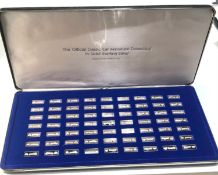 Boxed set of 100 years of motoring sterling silver classic car miniature collection approx 63 pieces