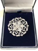Fine antique white gold / plat floral diamond pendant pin brooch central diamond measures approx 4mm